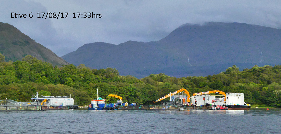 Fish farming operations at Etive 6